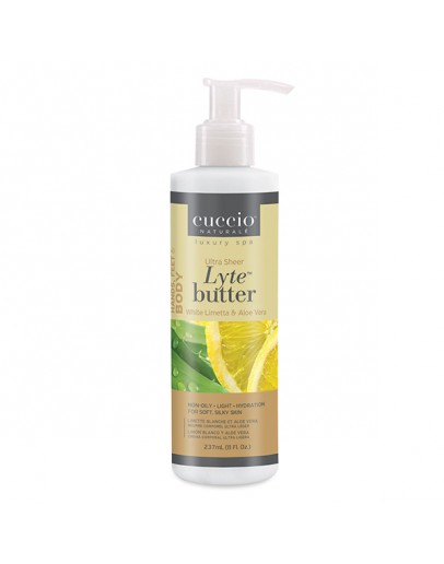 Cuccio Lytes Ultra Sheer Body Butter, 8 oz White Limetta & Aloe Vera