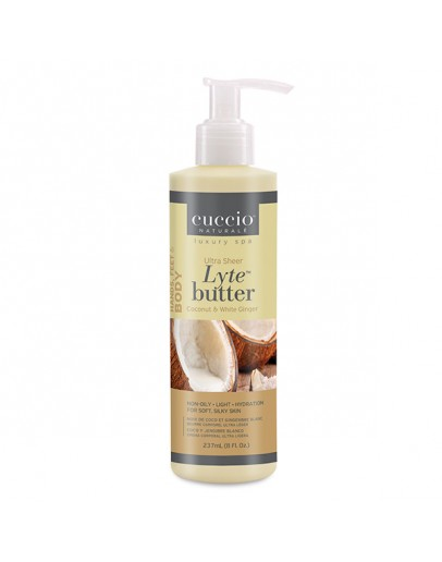 Cuccio Lytes Ultra Sheer Body Butter, 8 oz Coconut & White Ginger
