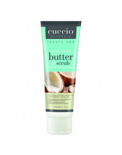 Cuccio Naturale Butter & Scrub, 4 oz, Coconut & White Ginger