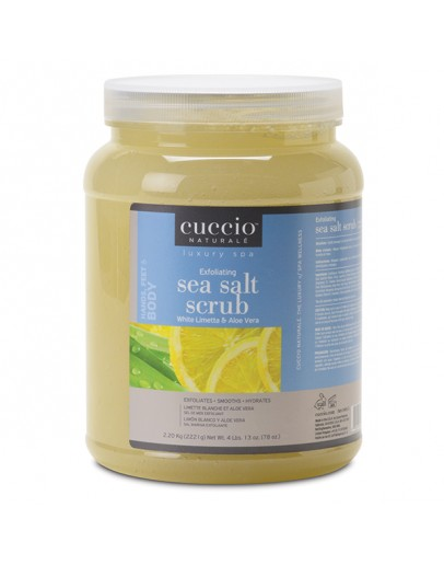 Cuccio Naturale Sea Salt Scrub, 78 oz White Limetta & Aloe Vera (Medium Crystals & Fine Salts)