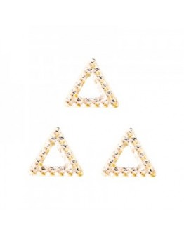 Hollow Rough Triangle L  Pink Gold